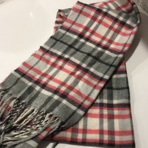 Pink cream and gray flannel scarf